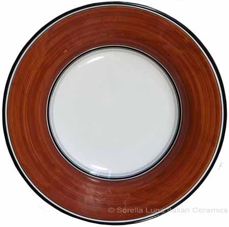 Deruta Italian Pasta Plate - Black Border Solid Rossiccio