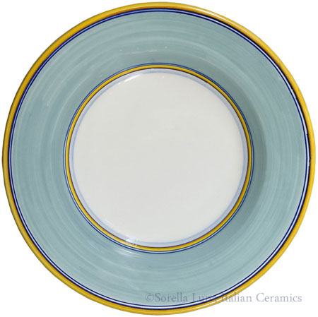 Deruta Italian Pasta Plate - Yellow Border Solid Teal