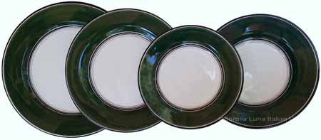 Italian Dinner Place Setting - Black Border Solid Emerald Green