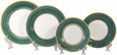 Italian Charger Place Setting - Yellow Border Geen