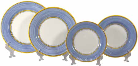Italian Charger Place Setting - Yellow Border Light Blue