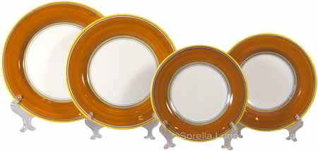 Italian Charger Place Setting - Yellow Border Orange
