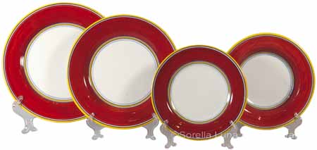 Italian Charger Place Setting - Yellow Border Red