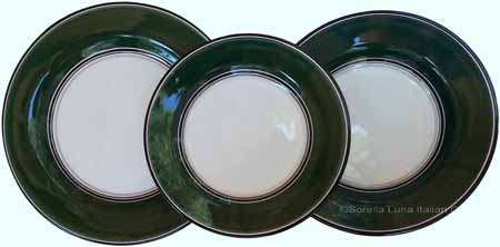Italian Dinner Place Setting - Black Border Solid Emerald Green