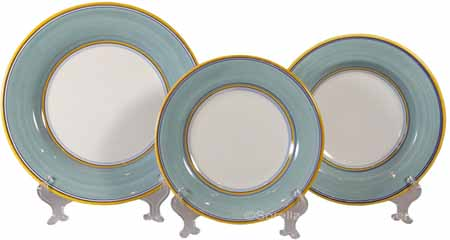 Italian Dinner Place Setting - Yellow Border Teal