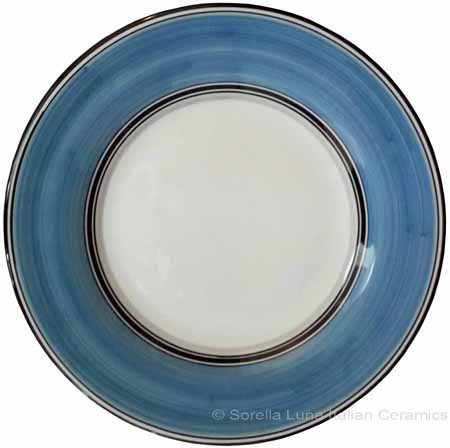 Deruta Italian Salad Plate - Black Rim Solid Light Blue - Platino