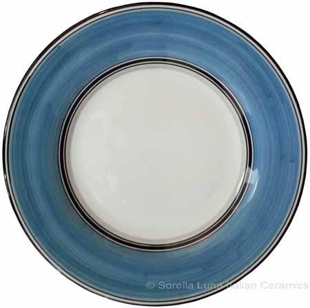 Deruta Italian Salad Plate - Black Rim Solid Light Blue - Platino