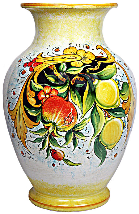 Deruta Italian Ceramic Vase - Pomegranates and Lemons