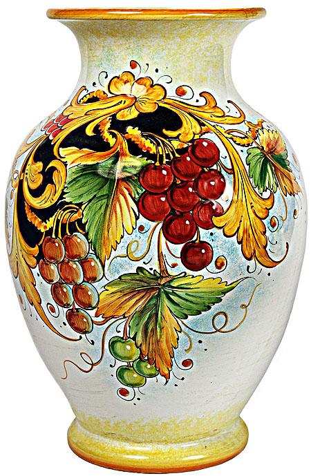 Deruta Italian Ceramic Vase - Frutta Grapes