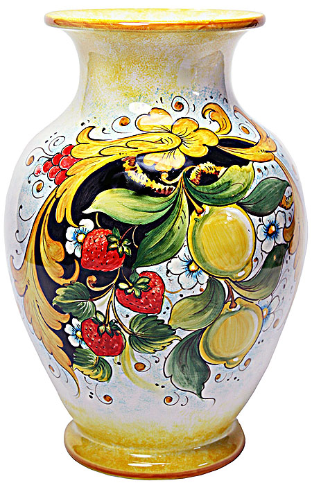 Deruta Italian Ceramic Vase - Strawberries and Lemons