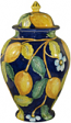 Italian Ceramic Centerpiece Urn - Blue Lemon