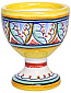 Ceramic Majolica Egg Cup Server Blue Red Vario 6cm