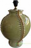 Tuscan Ceramic Lamp - Honey Green with Gold Relief