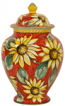 Italian Ceramic Centerpiece Urn - Red Sunflowers