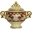 Covered Bowl/Urn - Ruby and Gold Handled Petit
