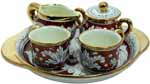 Ceramic Majolica 5 Piece Coffee Service Gold Leaf Red