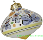 Ceramic Majolica Christmas Ornament Arabesco Light Blue