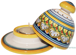 Ceramic Majolica Covered Candle Yellow White Red Vario 10cm