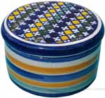 Maiolica Covered Cylinder Box - Checker 6cm