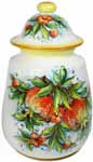 Ceramic Majolica Jar Pomegranate White Orange 28cm