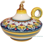 Ceramic Majolica Oil Lamp 1206 10 Handle White Yellow