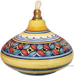 Ceramic Majolica Oil Lamp 1206 3 Red Green Petals