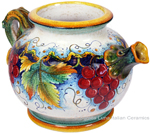 Ceramic Majolica Pitcher Red Grapes 994 23cm