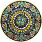 Ceramic Majolica Plate Acanthus Light Blue Orange 47cm
