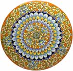 Ceramic Majolica Plate FDL G04 Orange Light Blue 42cm