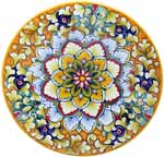 Ceramic Majolica Plate FDL Pink Blue Orange 739 20cm