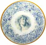 Ceramic Majolica Plate Figure Botticelli Blue 42cm