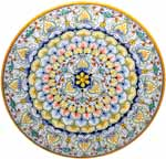 Ceramic Majolica Plate G03 G6 Yellow Blue Red 42cm