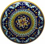 Ceramic Majolica Plate G04 Cobalt Blue Yellow 42cm