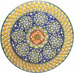 Ceramic Majolica Plate G04 GEO FDL Red Blue Yellow 52cm