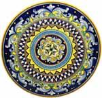 Ceramic Majolica Plate G04 Yellow Cobalt Blue 42cm