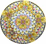 Ceramic Majolica Plate G05 Star Yellow Light Blue 42cm