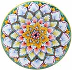 Ceramic Majolica Plate G08 Green Yellow Red 739 20cm