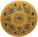 Ceramic Majolica Plate G09 Rectangles Orange Blue 42cm