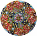 Ceramic Majolica Plate G12 GEO Red Blue Teal 739 30cm