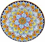 Ceramic Majolica Plate G12 Light Blue Orange 739 25cm