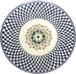 Ceramic Majolica Plate Pavone Blue White NC 42cm