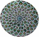 Ceramic Majolica Plate Peacock Green MRN 35cm