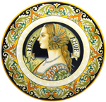 Ceramic Majolica Plate Portrait Female BW GRN FIDES 42cm