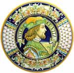Ceramic Majolica Plate Portrait Male Penne POTES 42cm