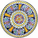 Ceramic Majolica Plate Radial G05 Orange Blue Red 47cm