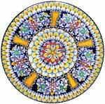 Ceramic Majolica Plate Radial G05 Orange Blue Red 47cm