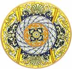 Ceramic Majolica Plate Shells Dragons Yellow Blue 52cm