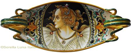 Ceramic Majolica Handled Centerpiece - Botticelli