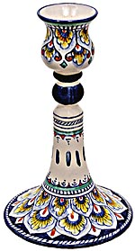 Ceramic Majolica Candelstick Old Pavone Blue 15cm