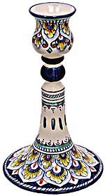 Ceramic Majolica Candelstick Old Pavone Blue 15cm
